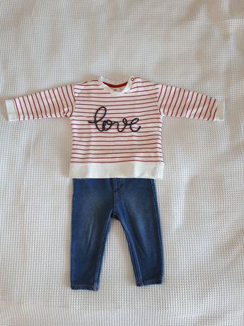 Bluza i leginsy H&M dla dziewczynki, rozm. 68