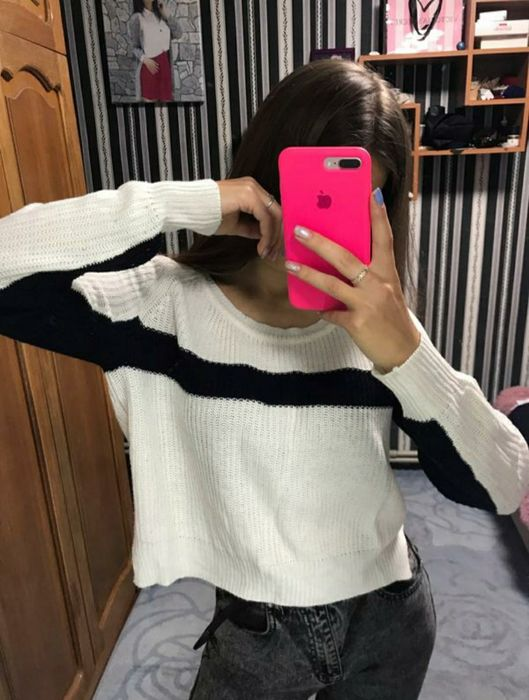 Свитер вязаный свитерок тёплый белый чёрный Харьков - изображение 1