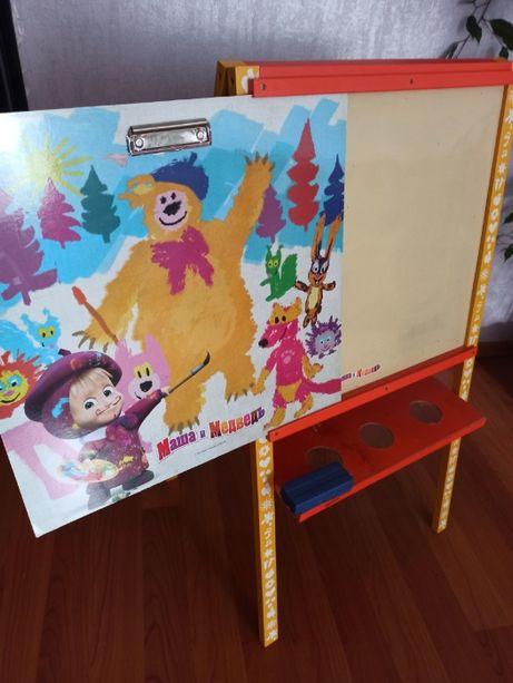 Двухсторонняя детская доска для рисования Маша и Медведь (мольберт)