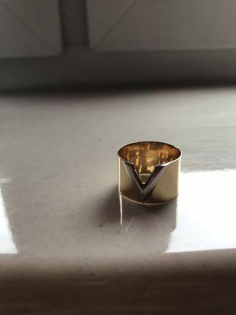Pierścionek szeroki ala Louis Vuitton złoty 585