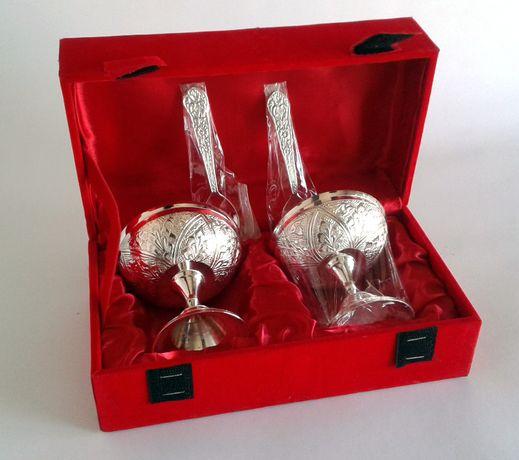 Креманки вазочки для мороженого 2 шт латунь посеребрение India
