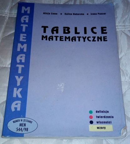 Tablice matematyczne - definicje, twierdzenia, własności, wzory