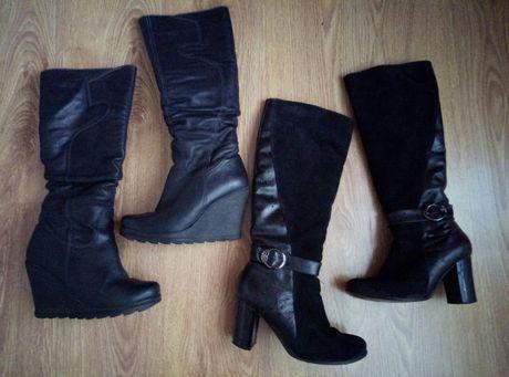 кожані сапоги замшeві шкіряні чоботи ботинки сапожки 37розм