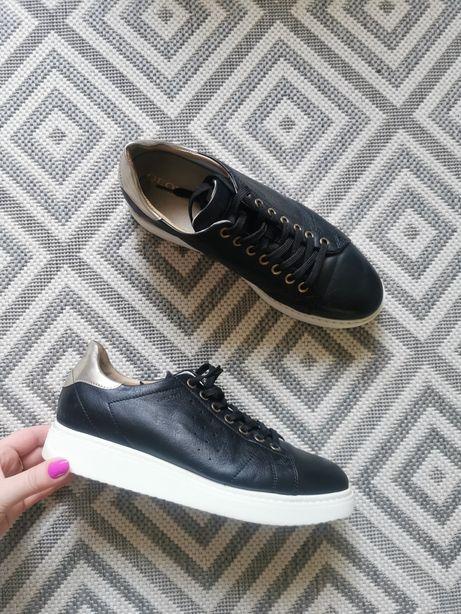 Czarne sneakersy skórzane skóra naturalna Geox respira 38
