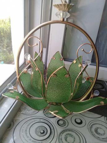 Новая люстра '' Изумруд ''на одну лампу - стекло , металл под золото