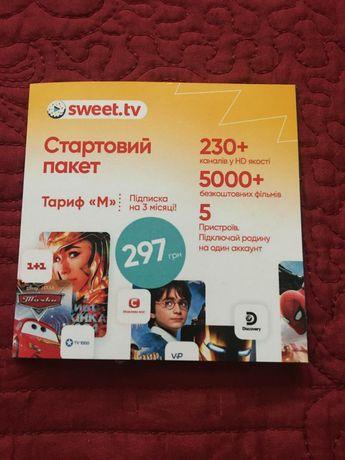 Стартовый пакет «SWEET.TV»  M на 3 мес (скретч-карточка)