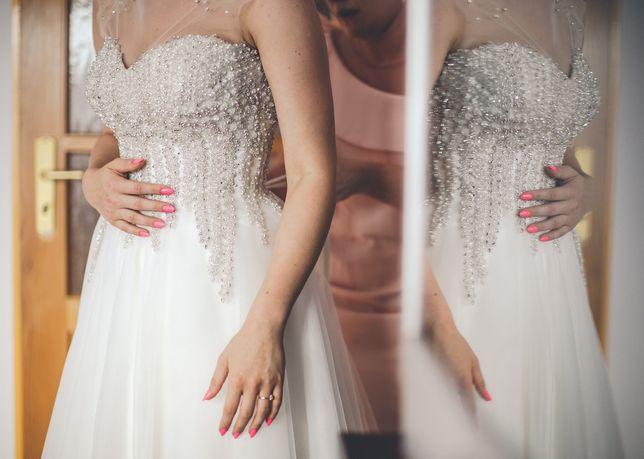 Suknia ślubna -50% podreślająca talię M