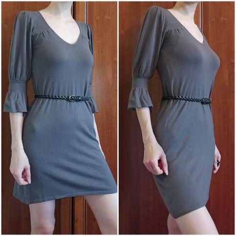Теплое кашемировое платье-туника S-M 36-38 серое трикотажное с-м