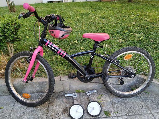 Bicicleta Roda 20 + capacete + rodinhas