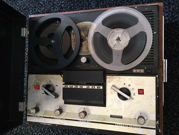 Яуза 206 магнитофон бабинный СССР - работает