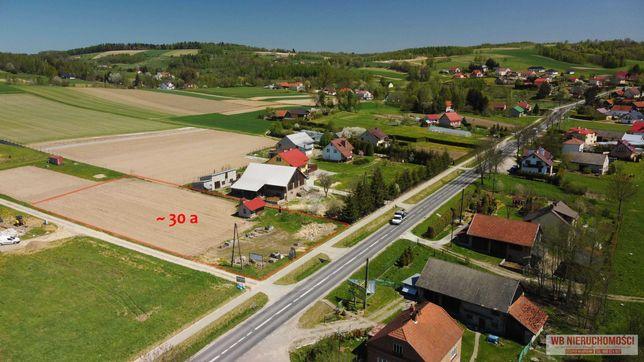 Działka budowlana 30a w Tułkowicach, przy drodze 988, pod dom, usługi