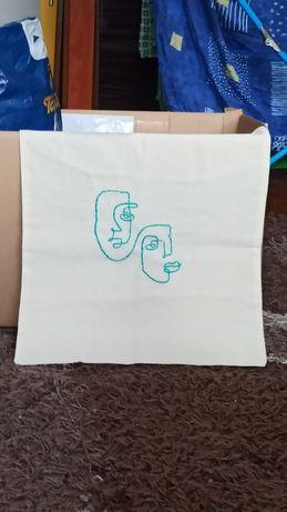 DIY torba torebka a4 eko na ramię biała haft embroidery lines linie tw