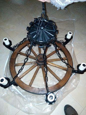 Candeeiro roda de carroça grande 6 lâmpadas