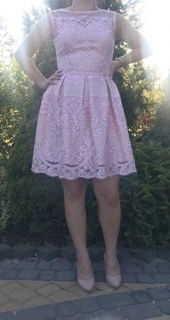 Sukienka pudrowy róż koronki rozmiar S