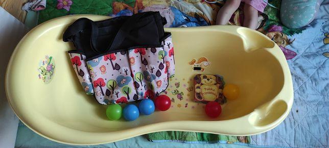 Duża wanienka, torba do wózka na przybory dla dziecka