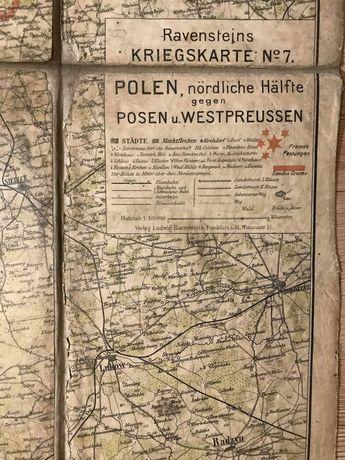 Mapa przedwojenna Warszawa kresy Poznań antyk