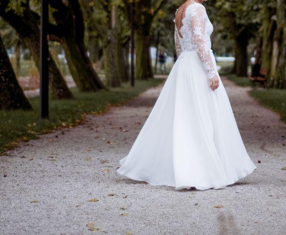 Suknia ślubna z muślinu, koronka francuska, r.38