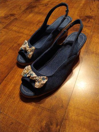 Sandałki na koturnie espadryle jeansowe rozmiar 38 wkładka 24,5 cm