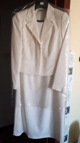 Kremowa Sukienka bolerko komplet garsonka L