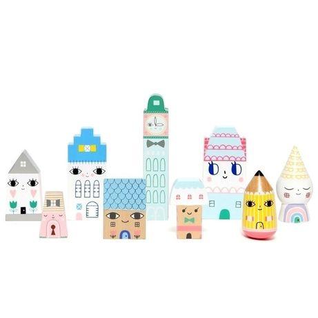 Petit Monkey - Suzy's City klocki domki drewniane 9 szt.