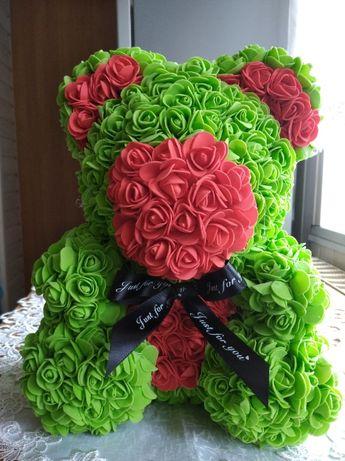 Zielony MIŚ Z RÓŻ rose bear na prezent walentynki 35 cm