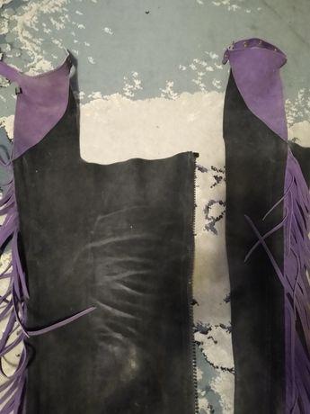 czapsy do jazdy konnej czarno fioletowe z fredzlami