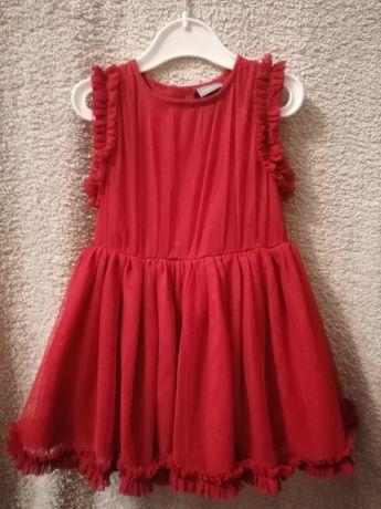 Sukienka NEXT 6-9 m-cy czerwona elegancka na Święta