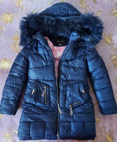 Зима теплая длинная куртка до колена пальто. Р. 140