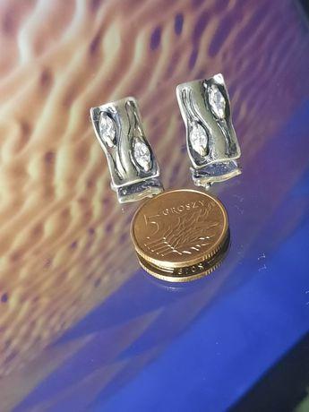 Nowe srebrne kolczyki vintage  próba 925. Diamenciki