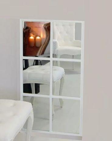 Lustro loft 100x180 cm ze szprosami białe