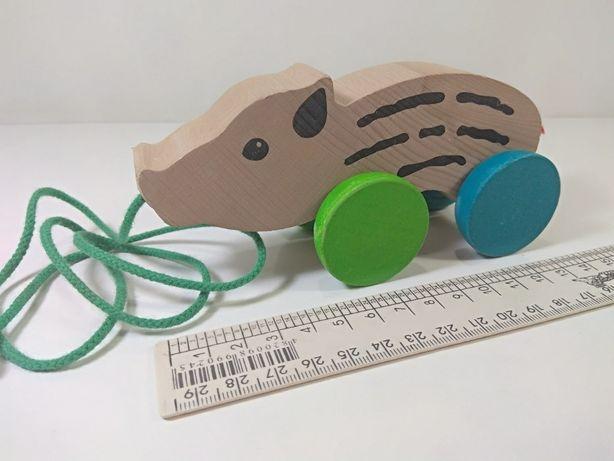 игрушка деревянная свинка каталка крутая отличная ПОРОСЕНОК свинья