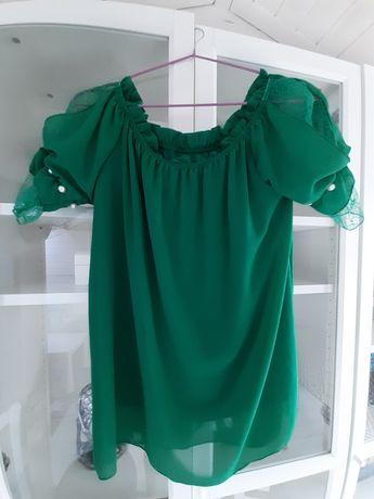 Bluzka damska zielona zdobiony rękaw r. Uniwersalny