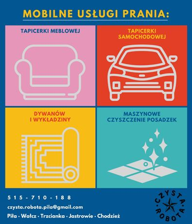 Pranie tapicerki meblowej, samochodowej, dywanów, czyszczenie posadzek