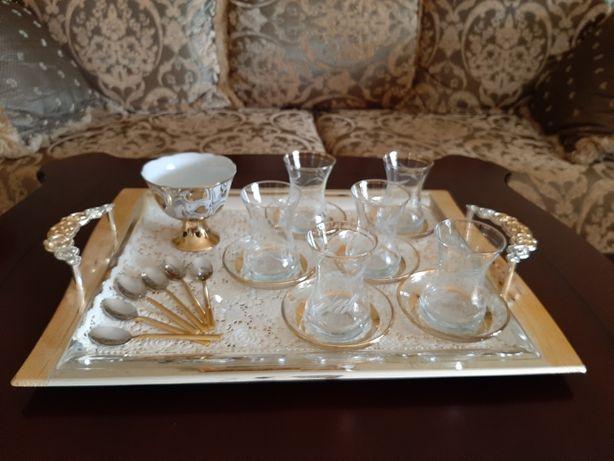 Набор поднос, армуды для чая по-турецки, сахарница, ложечки