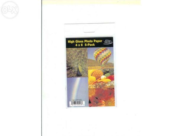 Papel fotográfico 5 folhas embalagem Nova
