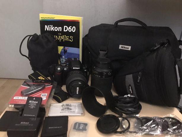 Nikon D60 - lustrzanka, 2 obiektywy, liczne akcesoria, aparat jak nowy