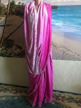 Сари из Индии розовое крепдешин камни паетки бисер