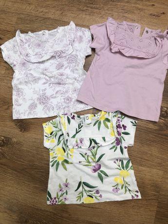 Bluzeczki tshirt Bluzka koszulka TU 68 nowe falbanka kwiaty