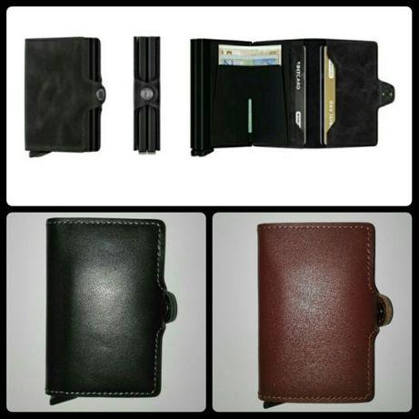 Carteira Pele + Protecção de Cartões, RFID, EMV e NFC, Alumínio