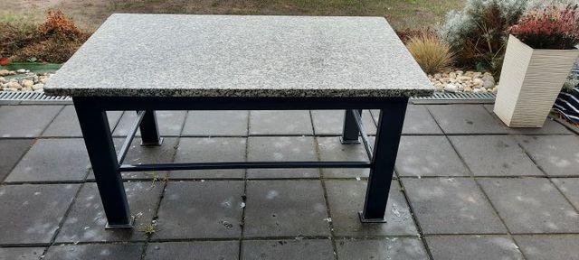 Stolik ogrodowy, blat granitowy 120x70x3, rama stal, grafit, antracyt