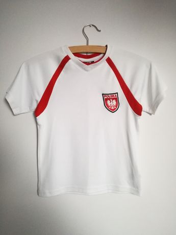 Koszulka sportowa H&M 110 116 cm 4 6 lat Polska 9 biała czerwona ślisk