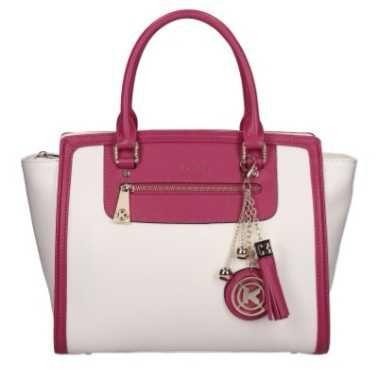 Kazar bialo rozowa torebka duza brelok