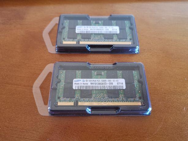 Memórias Portátil SO-DIMM Samsung 2x1GB PC2-5300S