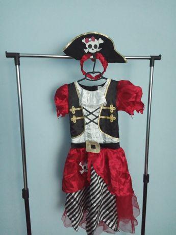 Карнавальный костюм TU пиратка для девочки на 8-10 лет, 128-140 см.
