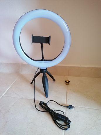 Luz para fotos com tripé e suporte para telemóvel