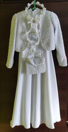 Alba komunijna (Sukienka) z bolerkiem, torebką i butami