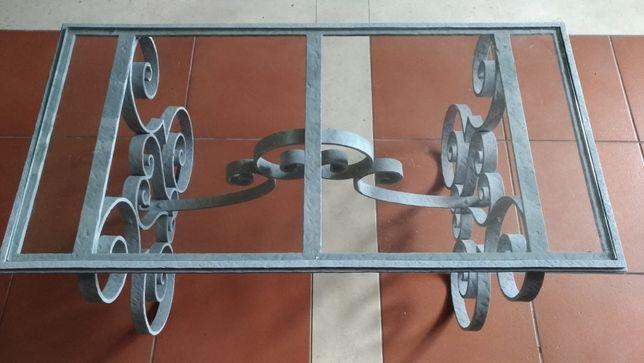 Mesa Ferro Forjado e Tampo Vidro temperado Porta-Velas Antigo