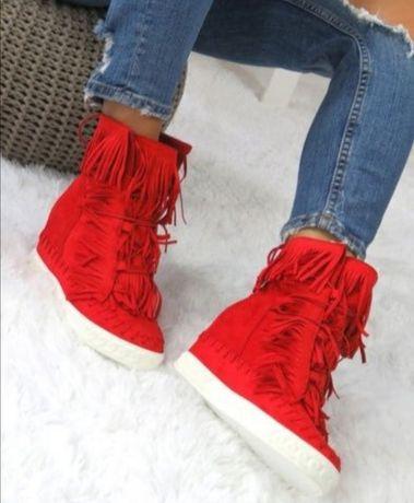 Zestaw butów czerwone sneakersy r. 36