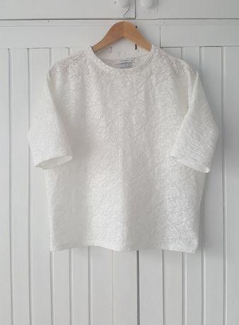 Biała Koronkowa Bluzka Oversize, Reserved