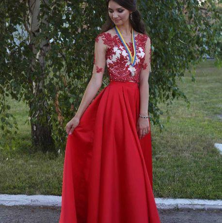 Красное выпускной платье (юбка, топ)